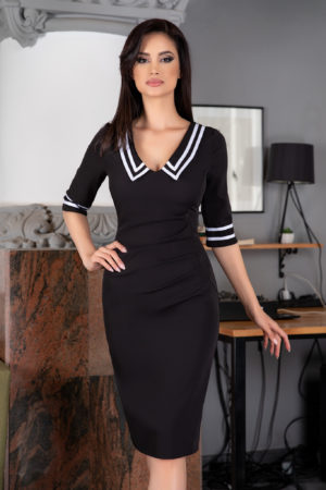 Rochie de zi office neagra midi cu maneci trei sferturi Trisha