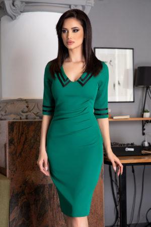 Rochie de zi office verde midi cu maneci trei sferturi Trisha