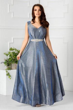 Rochie de seara albastra eleganta cu fusta lunga pana in pamant accesorizata cu strass-uri in talie Vanessa