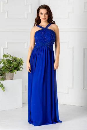 Rochie de ocazie albastra lunga eleganta cu dantela si strass-uri Venice pentru femei plinute