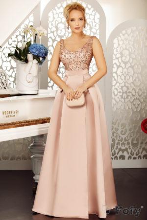 Rochie lunga roz de seara eleganta cu decolteu in V si aplicatii de paiete Veronesse