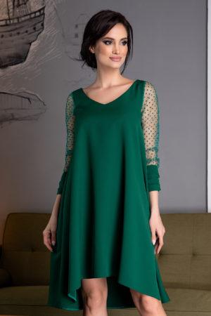 Rochie verde de ocazie eleganta cu maneci lungi din tull Vierra