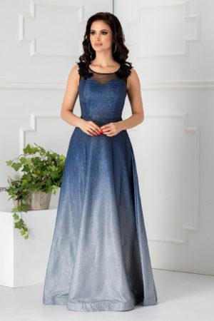 Rochie lunga albastra stil printesa foarte eleganta accesorizata cu dantela si tull diafan Virginia