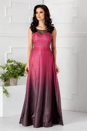 Rochie lunga rosie stil printesa foarte eleganta accesorizata cu dantela si tull diafan Virginia