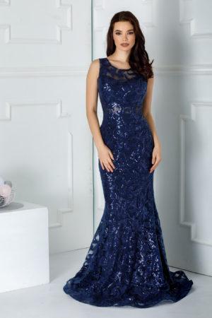 Rochie eleganta bleumarin lunga cu croiala stil sirena accesorizata cu aplicatii de paiete stralucitoare Wish