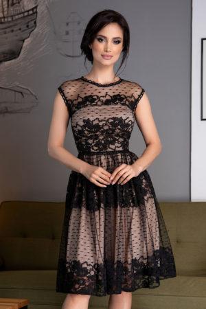 Rochie eleganta din dantela neagra pentru ocazii speciale prevazuta cu fermoar ascuns la spate Zaya