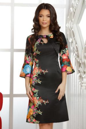 Rochie midi de zi neagra cu imprimeu floral accesorizata cu fundita la decolteu Agnes