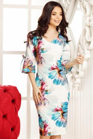 Rochie midi alba cu imprimeu floral prevazuta cu volanase la maneci Alicia