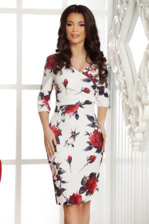 Rochie alba de vara scurta eleganta cu imprimeu floral Allegria