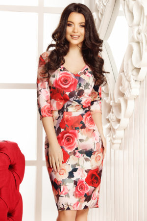 Rochie de vara scurta eleganta cu imprimeu floral Allegria