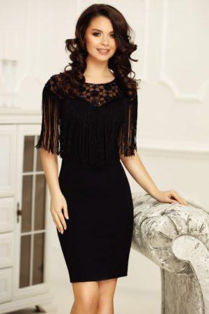 Rochie neagra midi eleganta de seara cu aplicatii de franjuri si paiete Amelie