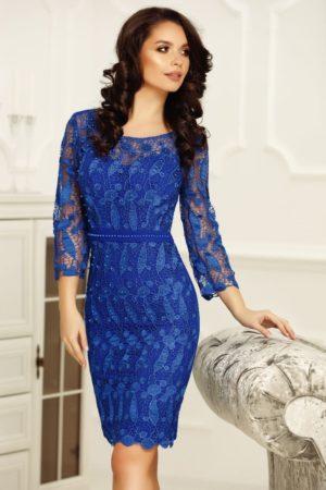 Rochie conica eleganta albastru electric cu bust buretat realizata din dantela Amora
