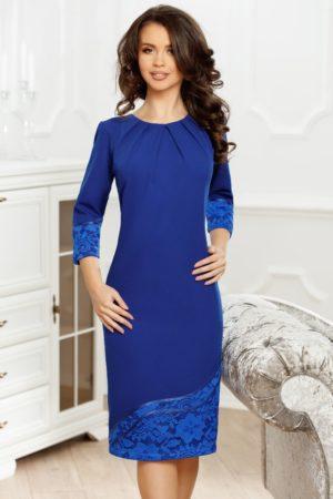 Rochie midi albastra de nunta cu broderie eleganta Andra pentru femei plinute