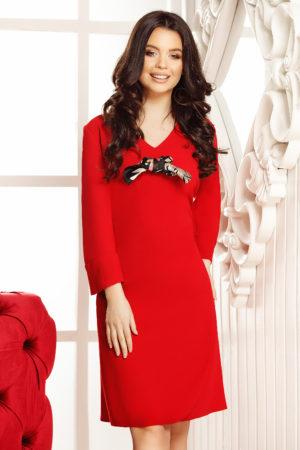 Rochie office rosie dreapta eleganta cu maneci lungi si decolteu in V Aniela