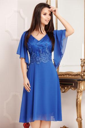 Rochie midi albastra de ocazie decorata cu broderie si aplicatii de satin Augustina