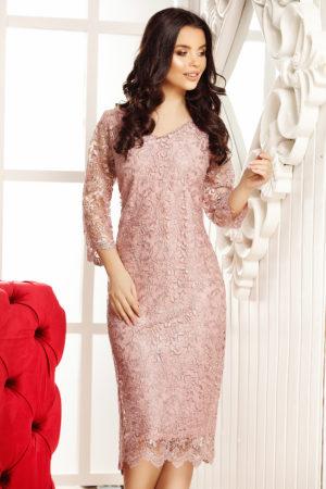 Rochie de dantela roz deschis cu maneci trei sferturi pentru femei plinute Calista