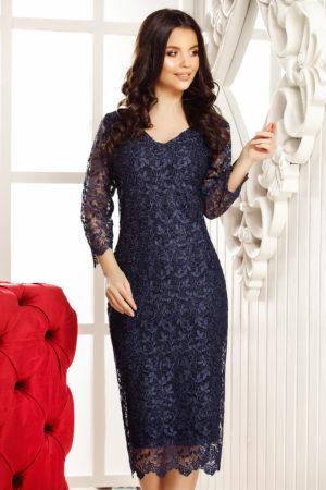 Rochie de dantela bleumarin cu maneci trei sferturi pentru femei plinute Calista