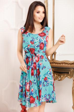Rochie de vara albastra cu imprimeu floral si croiala in clos moderna Cipriana