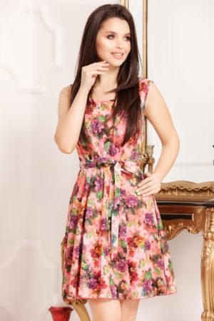Rochie de vara piersica cu imprimeu floral si croiala in clos moderna Cipriana