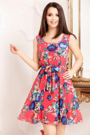 Rochie de vara rosie cu imprimeu floral si croiala in clos moderna Cipriana