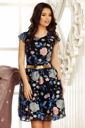 Rochie de nunta neagra cu imprimeu de culoare albastra si o croiala in clos Clara