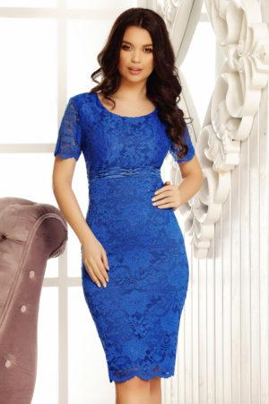 Rochie eleganta de ocazie albastru electric din dantela cu maneci scurte Crina