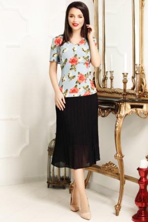 Rochie midi de zi cu imprimeu floral Dalia pentru femei plinute