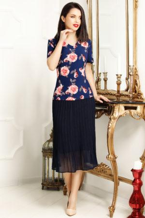 Rochie midi de zi bleumarin cu imprimeu floral Dalia pentru femei plinute