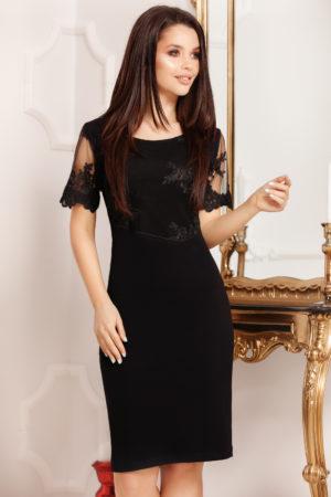 Rochie scurta neagra de ocazie cu maneci din dantela Daniela pentru femei plinute