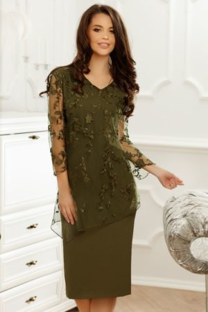 Rochie midi verde cu aplicatie de dantela Denisa pentru femei plinute