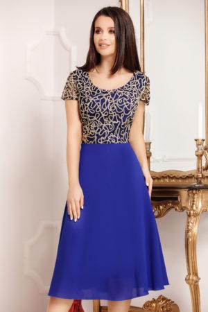 Rochie midi albastra plus size cu maneci scurte si bust accesorizat cu paiete Elena