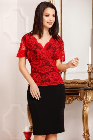 Rochie de ocazie neagra pentru femei plinute Fatima accesorizata cu bust de dantela rosie