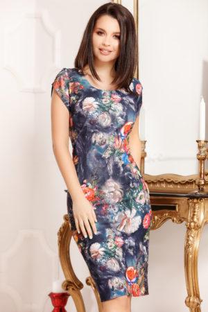 Rochie scurta albastra cu imprimeu floral si decolteu rotund pentru femei plinute Felicity