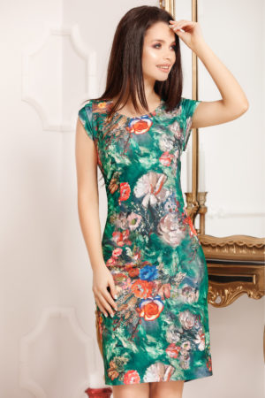 Rochie scurta verde cu imprimeu floral si decolteu rotund pentru femei plinute Felicity