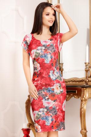 Rochie scurta rosie cu imprimeu floral si decolteu rotund pentru femei plinute Felicity