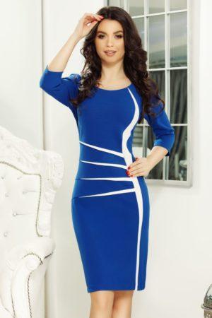 Rochie office albastra midi eleganta cu maneci trei sferturi pentru femei plinute Gaya