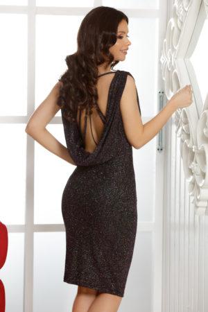Rochie eleganta midi mov cu spatele gol prevazuta cu insertii stralucitoare Graciela