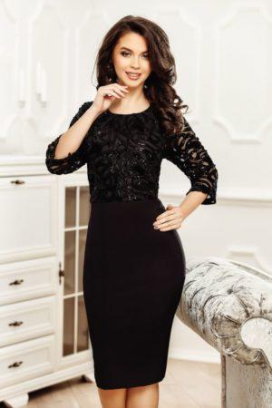 Rochie midi neagra dreapta cu aplicatii de paiete Hanne pentru femei plinute