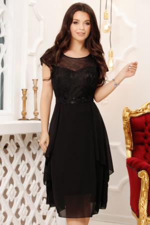 Rochie de seara neagra cu croiala asimetrica si bust buretat cu aplicatii de dantela Iona