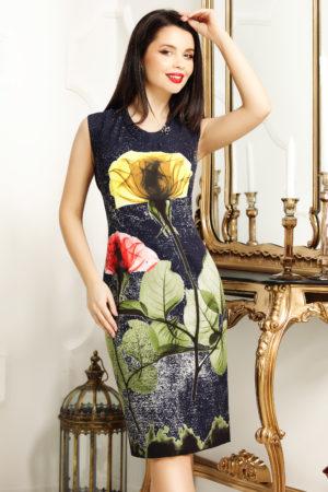 Rochie de zi bleumarin cu imprimeu floral accesorizata cu o brosa eleganta Jamila
