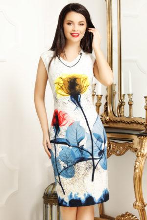 Rochie de zi alba cu imprimeu floral accesorizata cu o brosa eleganta Jamila