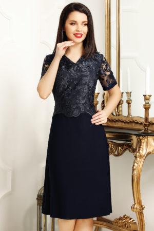 Rochie de seara bleumarin cu bust de dantela fina pentru femei plinute Janette