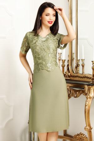 Rochie de seara verde masliniu cu bust de dantela fina pentru femei plinute Janette