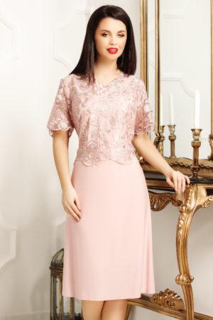 Rochie de seara roz deschis cu bust de dantela fina pentru femei plinute Janette