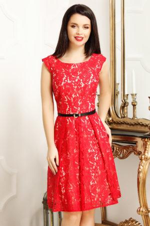 Rochie de ocazie rosie din dantela prevazuta cu o curea subtire in talie Juliet