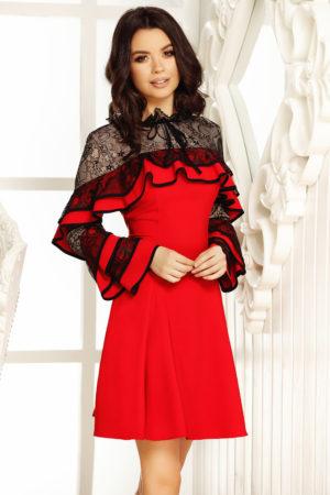 Rochie de ocazie rosie in clos prevazuta cu volanase si dantela discreta Lady