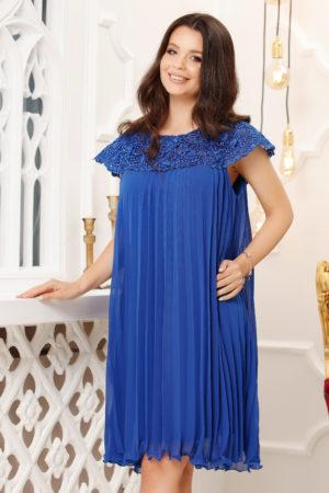 Rochie albastru electric eleganta de nunta cu croiala larga in pliuri decorata cu perlute si dantela Lidia