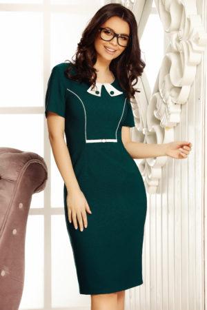 Rochie verde inchis conica eleganta cu maneci scurte si decolteu rotund Livia