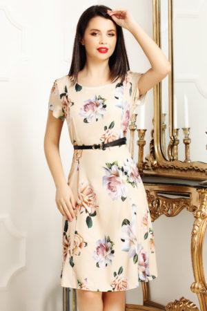 Rochie de zi scurta office bej cu imprimeu floral Lorena pentru femei plinute