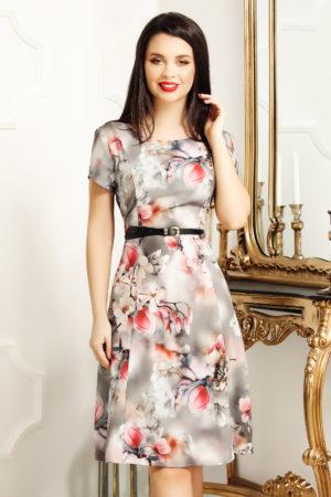 Rochie de zi scurta office gri cu imprimeu floral Lorena pentru femei plinute